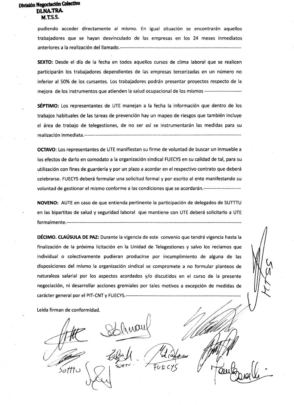 acta de acuerdo UTE-SUTTTU-2058